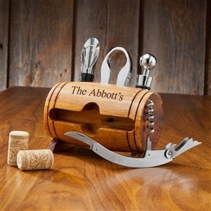 Personalized Wine Barrel Accessory Set – $25
