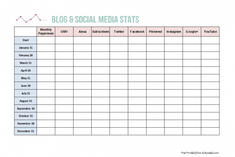 Blog and Social Media Stat Tracker Printable