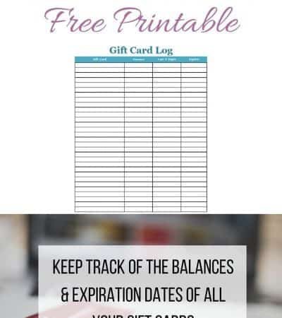 Gift Card Log Free Printable
