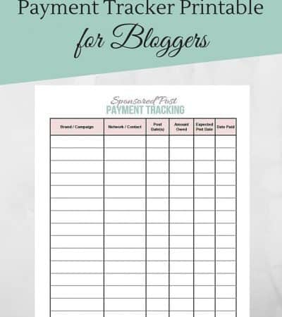 Sponsored Post Payment Tracker Printable for Bloggers