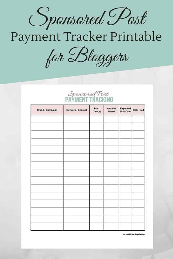 Blog Planner Printable: Sponsored Post Payment Tracker