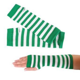 St. Patrick's Day Green and White Striped Arm Warmers