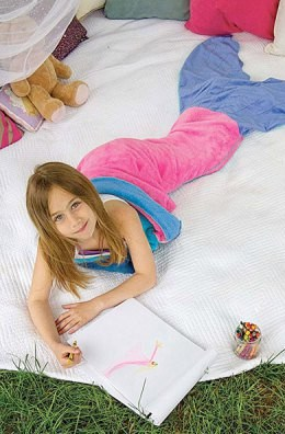 Cute Color Block Mermaid Design Blanket For Kids - PINK