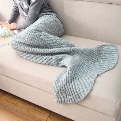 Mixture Crocheted / Knited Mermaid Tail Blanket - BLUE GRAY - KID