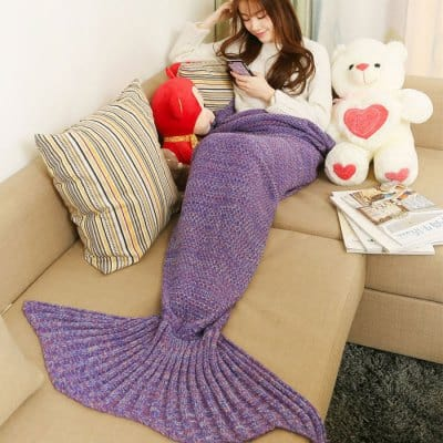 Mixture Crocheted / Knited Mermaid Tail Blanket - LIGHT PURPLE