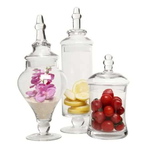 Designer Clear Glass Apothecary Jars (3 Piece Set)
