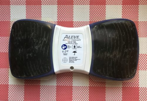 Aleve Direct Therapy Tens Device with Gel Pads On