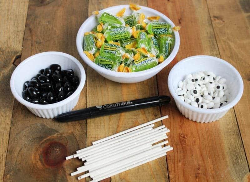 Ingredients for Cute Frankenstein Halloween Suckers