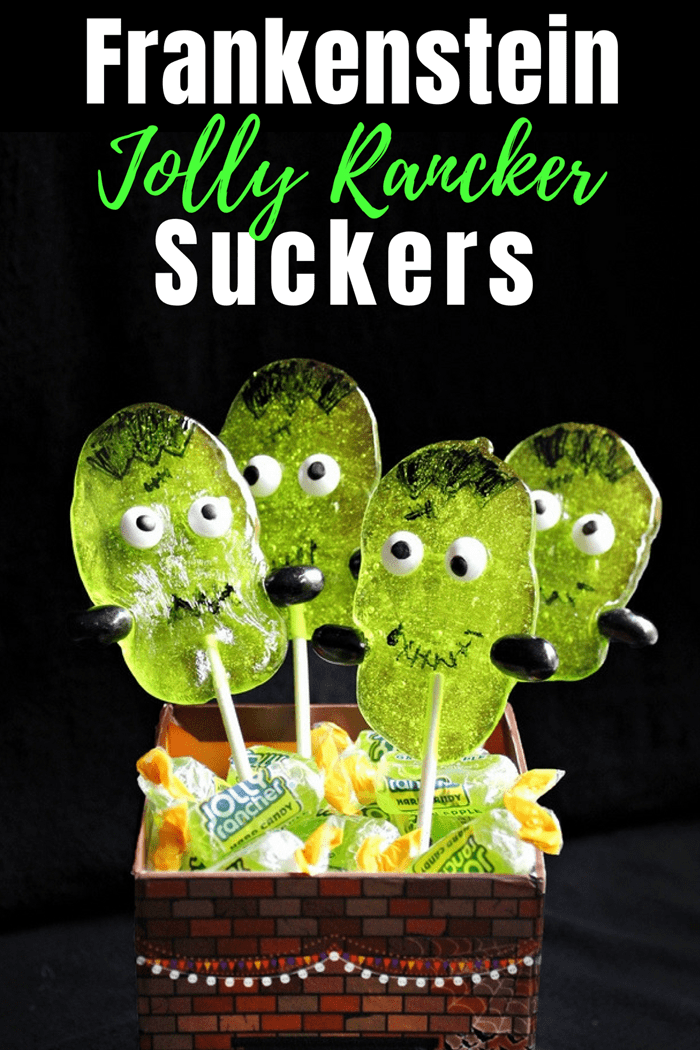 You don't need lightning or a fancy laboratory to make these adorable Halloween creations. These cute Frankenstein Suckers are made using Green Apple Jolly Ranchers!