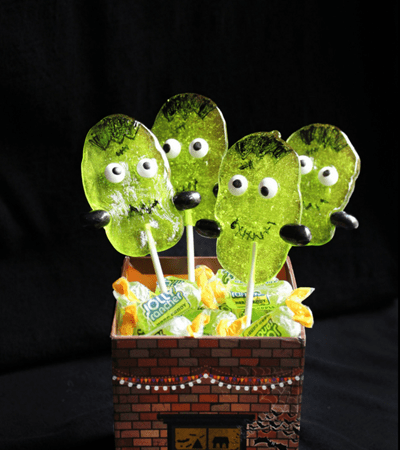Frankenstein Jolly Rancher Suckers - A Halloween Dessert Treat