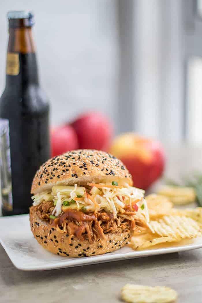 Apple BBQ Pulled Chicken Sandwiches