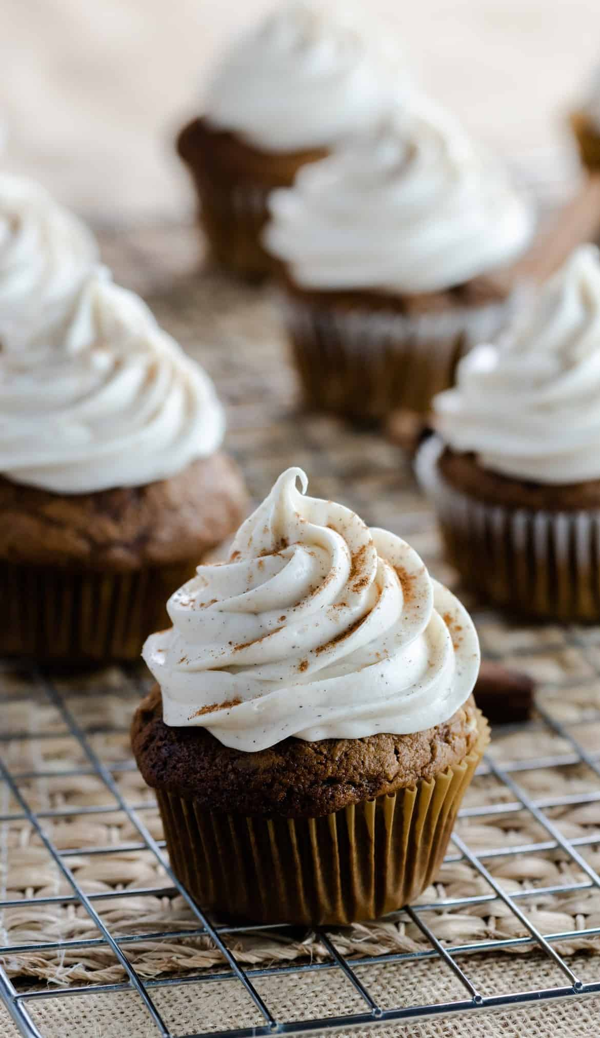 Pumpkin Gingerbread Cupcakes with Vanilla Frosting