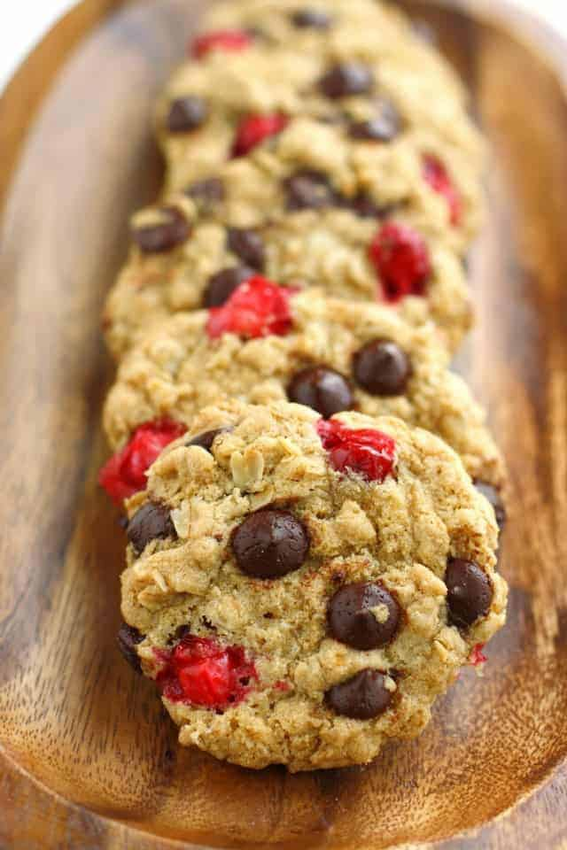Chocolate Chip Oatmeal Cookies with Fresh Cranberries via The Pretty Bee