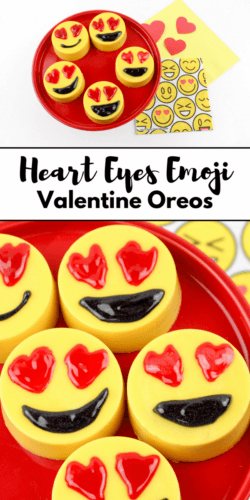 These adorable Heart Eyes Emoji chocolate covered Oreos make the perfect Valentine's Day treat! They are seriously almost too cute to eat!