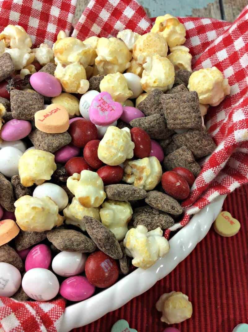 Valentine's Day Cherry Muddy Buddies Snack Mix