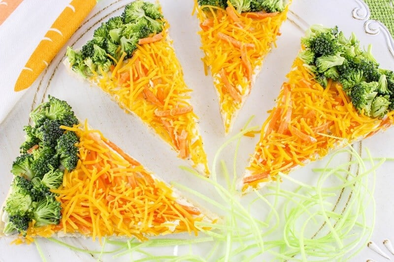 Easy Carrot-Shaped Cold Veggie Pizza Bars