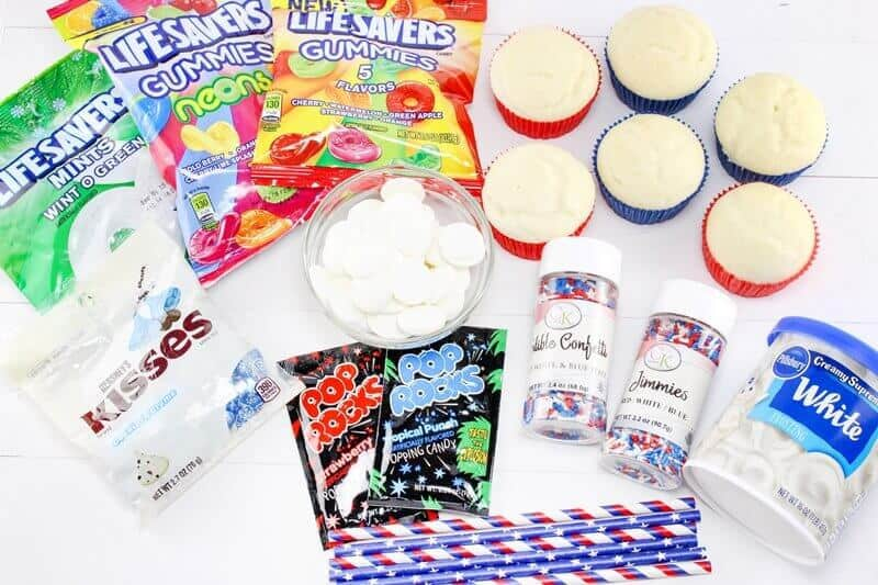 4th of July Firework Cupcakes Ingredients