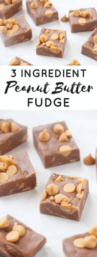 This quick and easy 3 ingredient peanut butter fudge recipe takes minutes to throw together. The hardest part is waiting 4 hours for it to set!