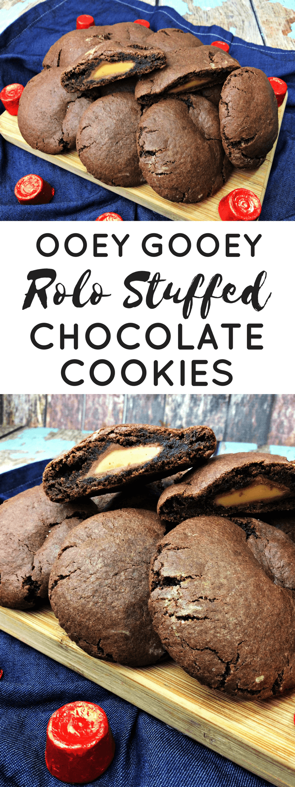 These Rolo stuffed chocolate cookies are going to be a new family favorite. Delicious, soft, and chewy chocolate cookies with an ooey gooey Rolo center.