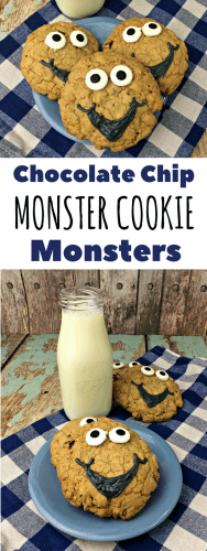 Imagine a cookie that is a combination of all your favorite cookies. Meet the chocolate chip monster cookie! Add a cute monster face and ta-da! Happiness in a cookie!