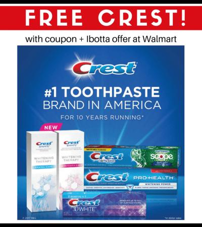 Score FREE Crest Toothpaste at Walmart