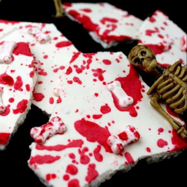 This bloody good Halloween Bones Bark recipe is simple to make and will be a hit at your Halloween party.