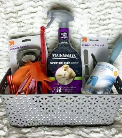 "This fun DIY ""Welcome Home Kitty"" cat gift basket is filled with goodies for kitty and makes the purrfect gift for new cat owners."
