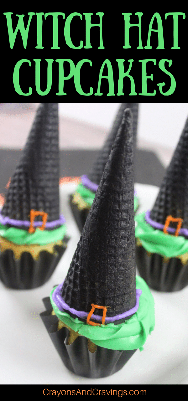 Witch hat cupcakes are made by topping cupcakes with sugar cones and adding detail with icing. These Halloween cupcakes will be a hit at a Halloween party.