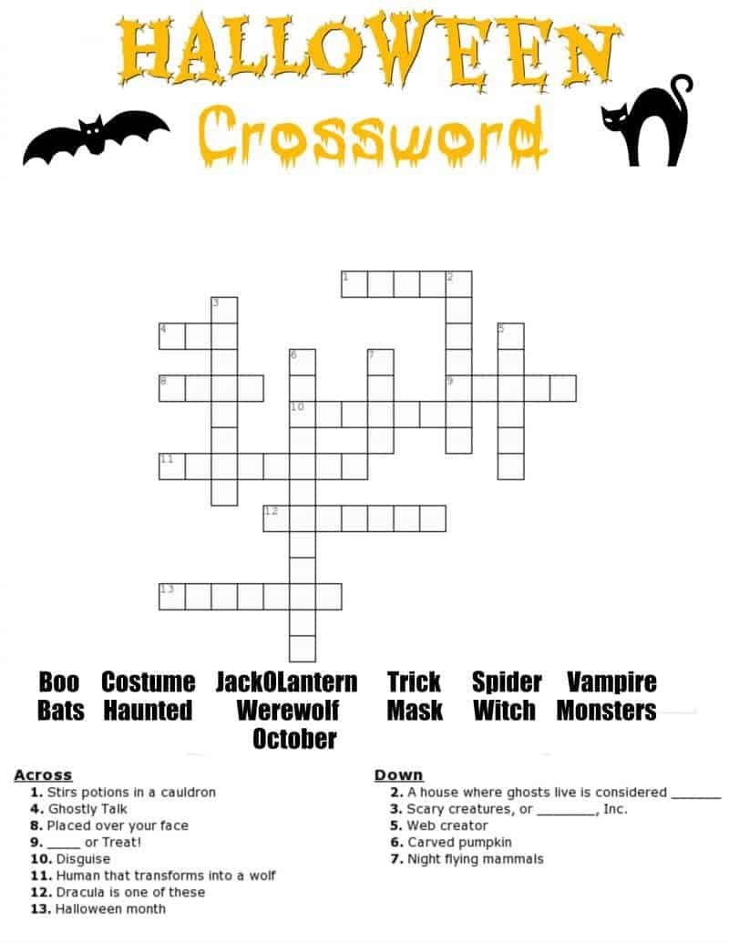 Free Halloween crossword puzzle printable worksheet available with and without a word bank. Perfect for the classroom or as a fun holiday activity at home.