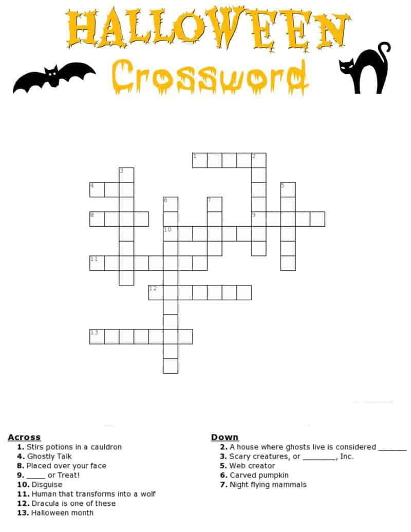 Free Halloween Crossword Puzzle Printable Worksheet Available With And Without A Word Bank Perfect For