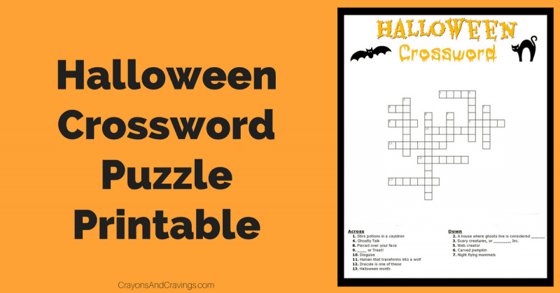 graphic regarding Halloween Crossword Puzzles Printable named Halloween Crossword Puzzle Cost-free Printable