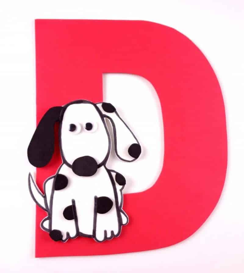 Letter D Craft Dog on Foam Circles
