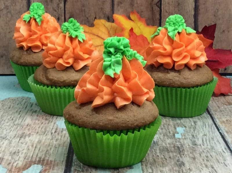 If you want to make a dessert for Halloween or Thanksgiving that truly feels like fall, these pumpkin spice cupcakes with buttercream frosting are perfect.
