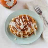 Cinnamon Swirl Pumpkin Spice Pancakes with Cream Cheese Glaze