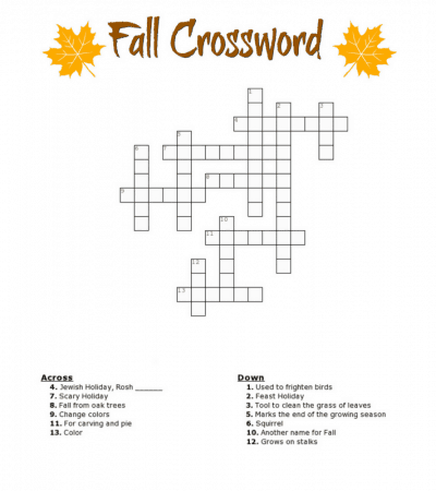 Free Fall crossword puzzle printable worksheet available with and without a word bank. Perfect for the classroom or as a fun Autumn activity at home.