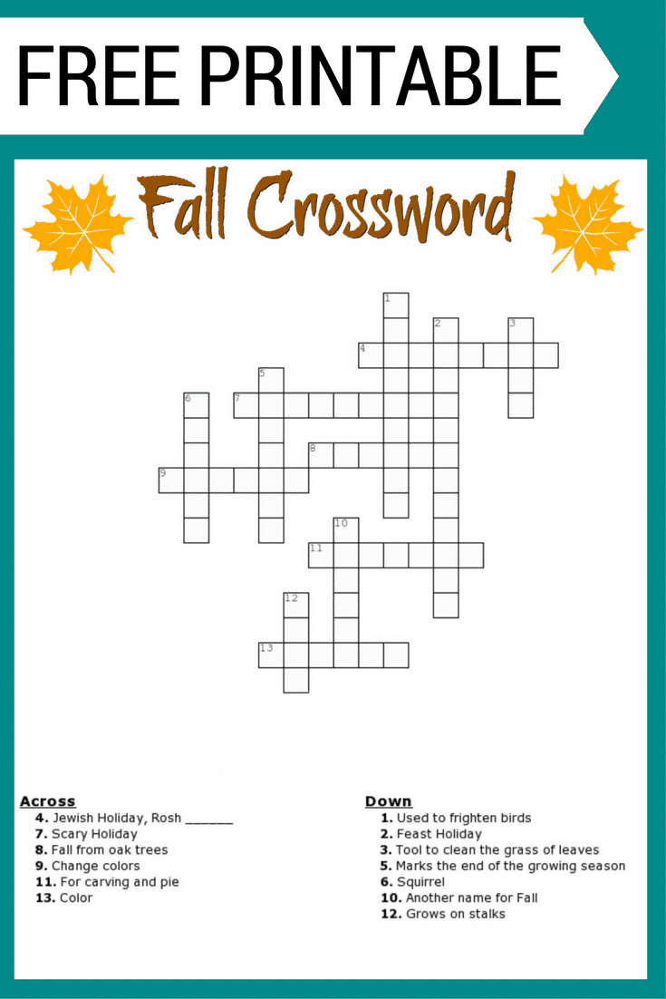 Free Fall Crossword Puzzle Printable Worksheet Available With And Without A Word Bank Perfect For
