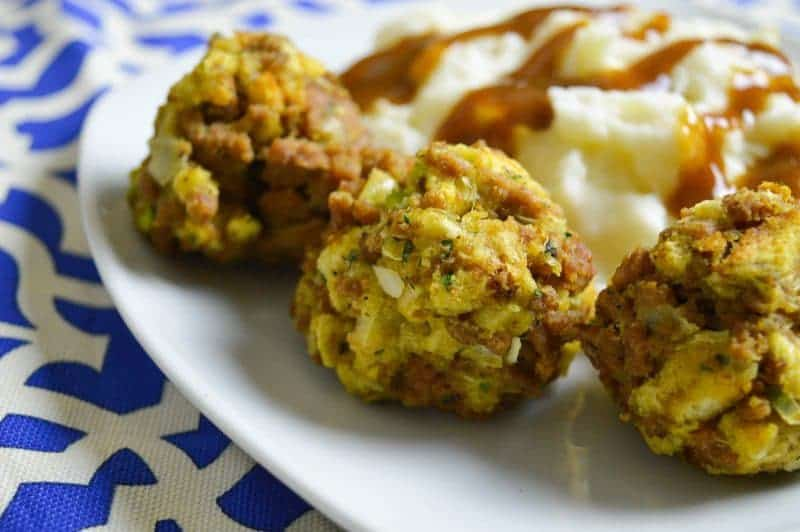 If you're looking for an easy appetizer to bring to a potluck or holiday dinner, these Turkey and Stuffing Balls are a wonderful option.