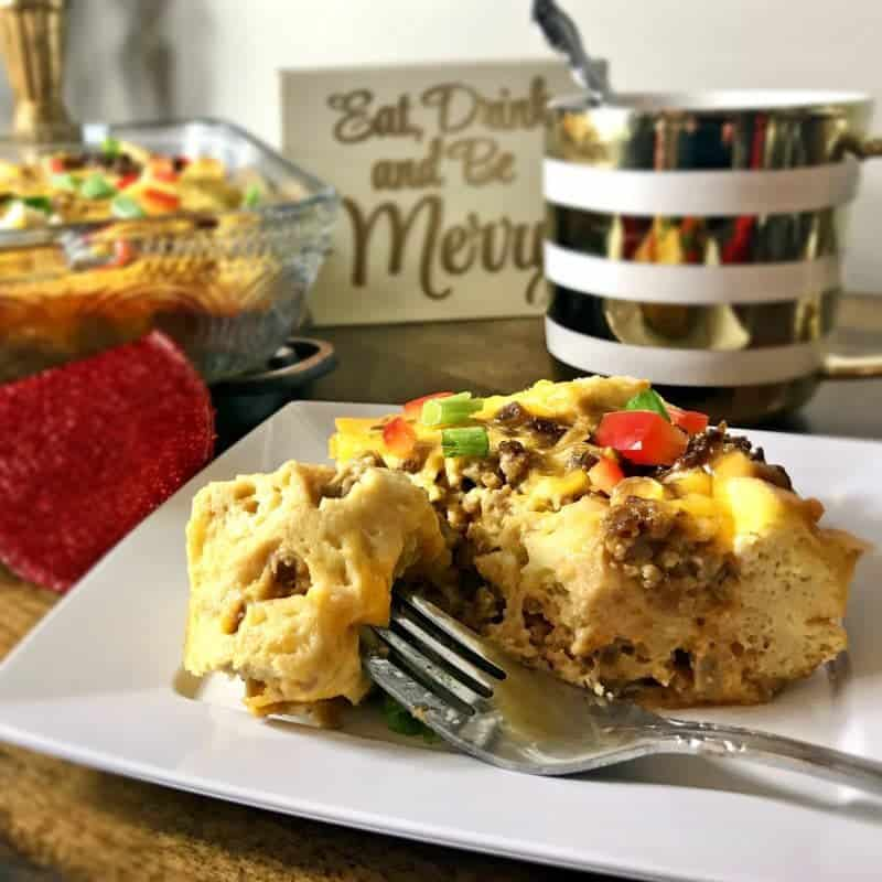 This cheesy vegetarian overnight breakfast casserole is an easy vegetarian breakfast option to serve overnight guests on busy holiday mornings.