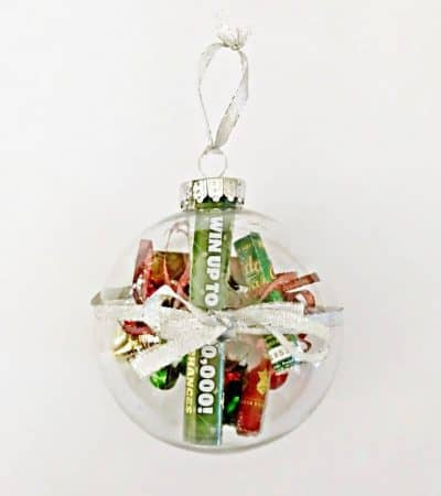 This Christmas Lottery Ticket Ornament is a fun and easy DIY gift idea perfect for teachers, neighbors, and anyone over 18 on your holiday shopping list!