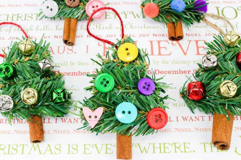 a fun diy christmas tree ornament craft made using wreath garland cinnamon sticks