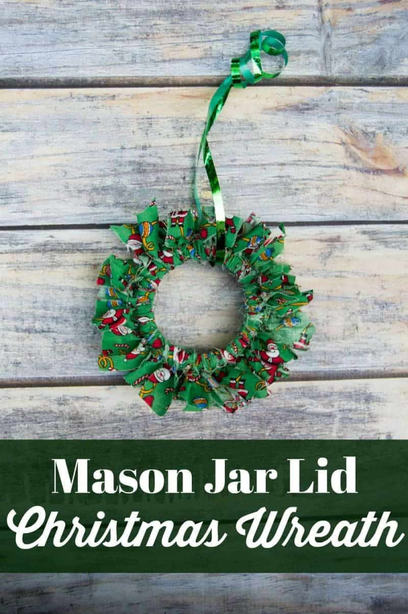 Mason canning jar lid Christmas wreath ornaments are great  for giving your tree that homemade rustic feel, and can be customized with any color fabric.
