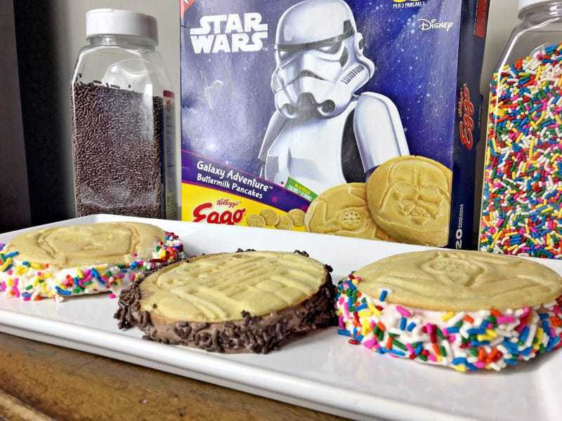"""Have a little space lover at home? They will love these easy """"out of this world"""" ice cream sandwiches, made with Eggo Star Wars Galaxy Adventure Pancakes."""