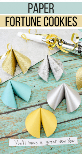 This paper fortune cookies craft will make a fun favor and decoration for your New Year's Eve party! Fill the paper fortune cookies with fun predictions for the New Year for your guests.