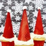 Easy Christmas Santa Hat Cupcakes
