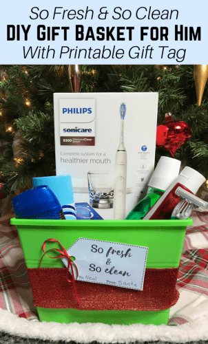 "Looking for a gift idea for the men in your life? This ""So Fresh and So Clean"" DIY gift basket for him makes the perfect gift for all the men on your holiday shopping list."