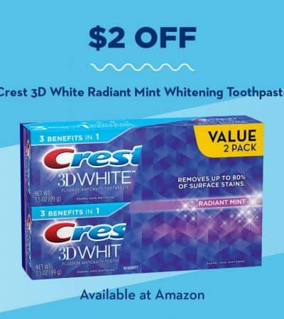 For a limited time, you can save $2 on the purchase of a Value 2 Pack of Crest 3D White Radiant Mint Toothpaste on Amazon.