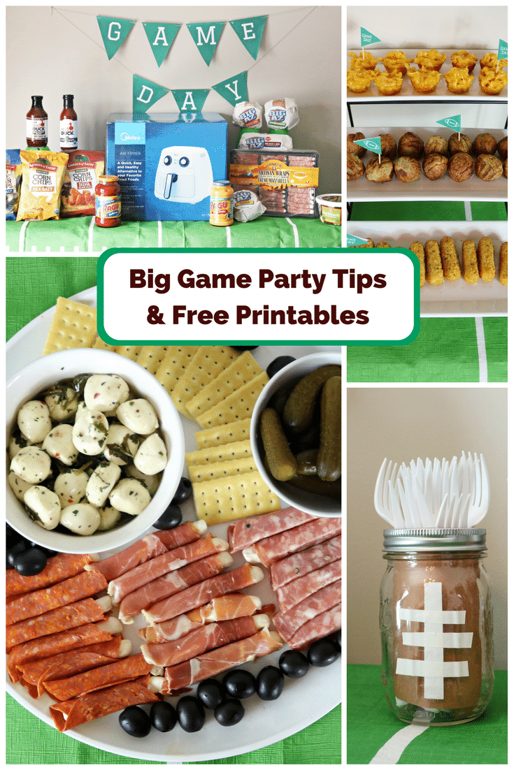 A fun and easy football themed party spread including a recipe for mini mac & cheese cups. Also included are a DIY Game Day banner printable, DIY Game Day toothpick topper printable, and printable football buffet table labels all available for download - for free!
