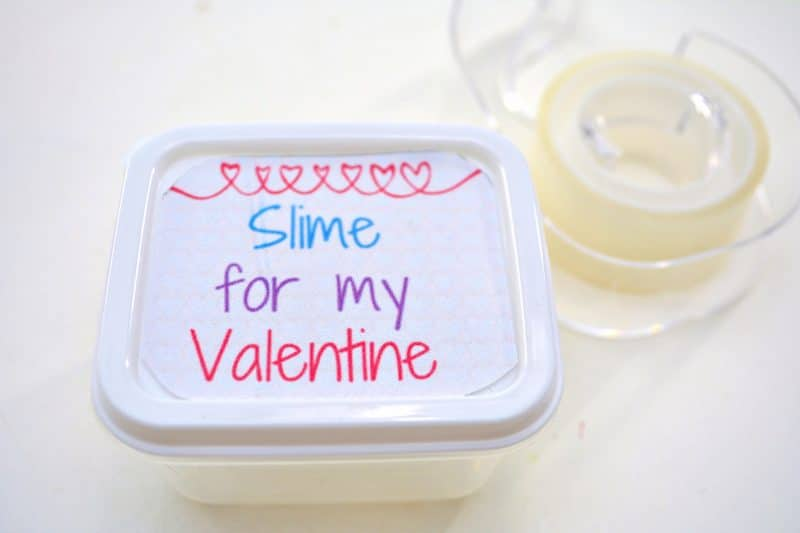 Make fun Valentines for the class with this easy DIY Valentine Slime recipe and these fun Valentine printable gift tags. These are perfect for the kids to give out to their classmates or friends this Valentine's Day!