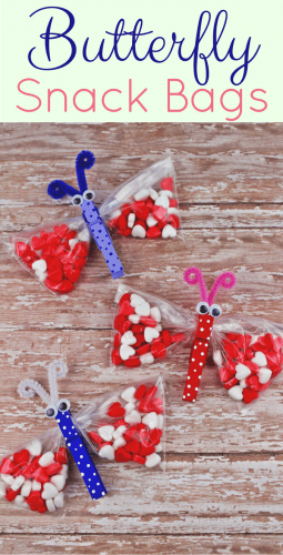 Butterfly snack bags are a fun and easy to make snack for kids. They can be filled with everything from candy to fruit so that they can be as healthy or an indulging as you would like!