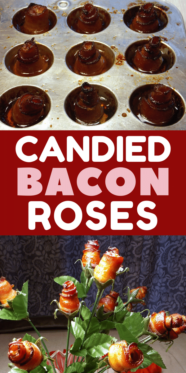 "Nothing says ""I love you"" like a bouquet of bacon roses! Surprise the bacon lover in your life this Valentine's Day with these tasty homemade candied bacon roses, made with cayenne pepper and brown sugar."